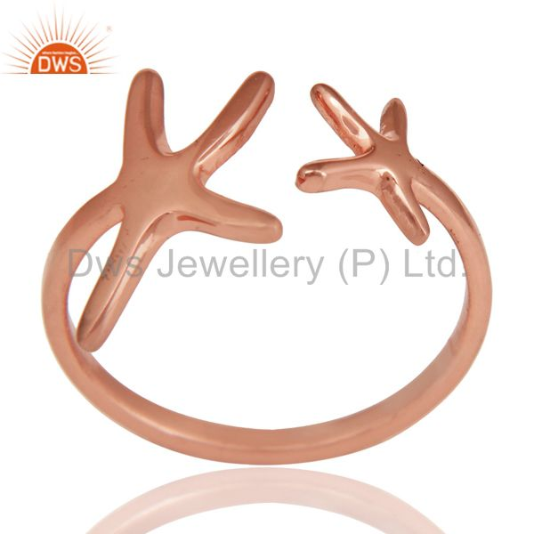 14K Rose Gold Plated 925 Sterling Silver Handmade Without Stone Fashion Ring