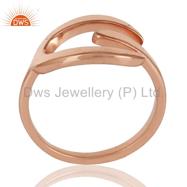 Beautiful Unique Design Ring With 14K Rose Gold Plated 925 Sterling Silver