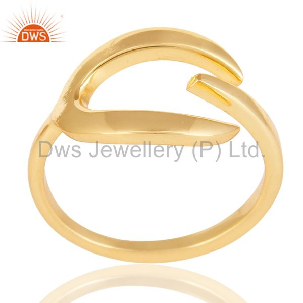 Beautiful Unique Design Ring With 14K Yellow Gold Plated 925 Sterling Silver