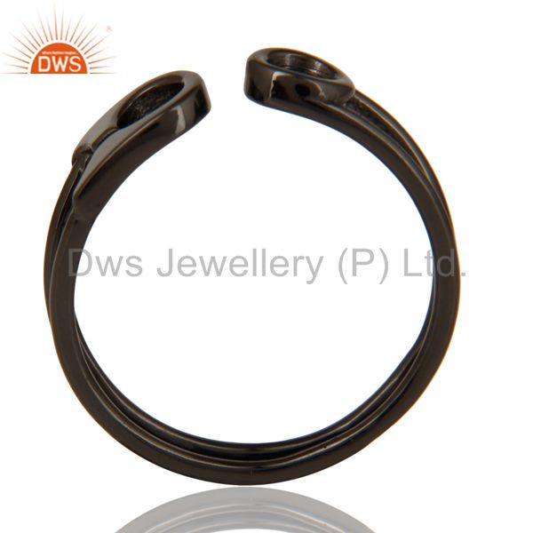 Black Oxidized 925 Sterling Silver Handmade Without Stone Stackable Ring Jewelry