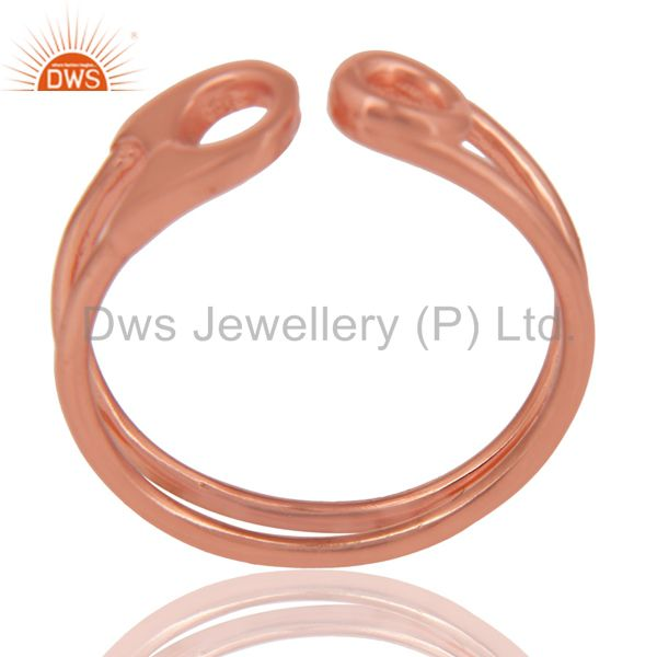 14K Rose Gold Plated Sterling Silver Handmade Without Stone Stackable Ring