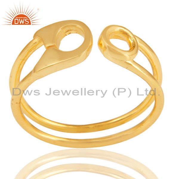 14K Gold Plated 925 Sterling Silver Handmade Without Stone Stackable Ring