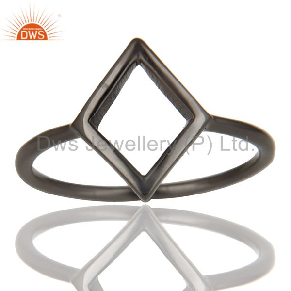 Black Oxidized 925 Sterling Silver Handmade Art Without Stone Fashion Ring