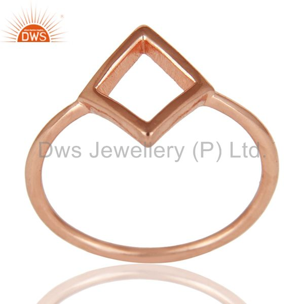 14K Rose Gold Plated Sterling Silver Handmade Art Without Stone Fashion Ring