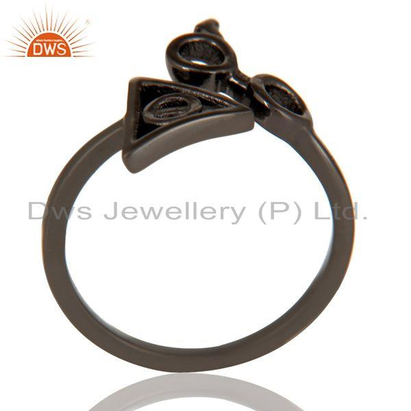 Black Oxidized 925 Sterling Silver Handmade Without Stone Stackable Ring