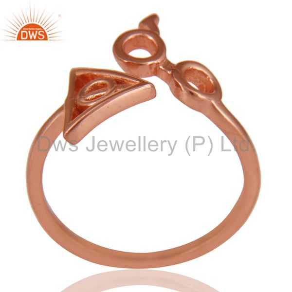 14K Rose Gold Plated 925 Sterling Silver Handmade Without Stone Stackable Ring