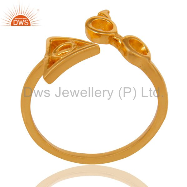 14K Yellow Gold Plated 925 Sterling Silver Handmade Without Stone Stackable Ring