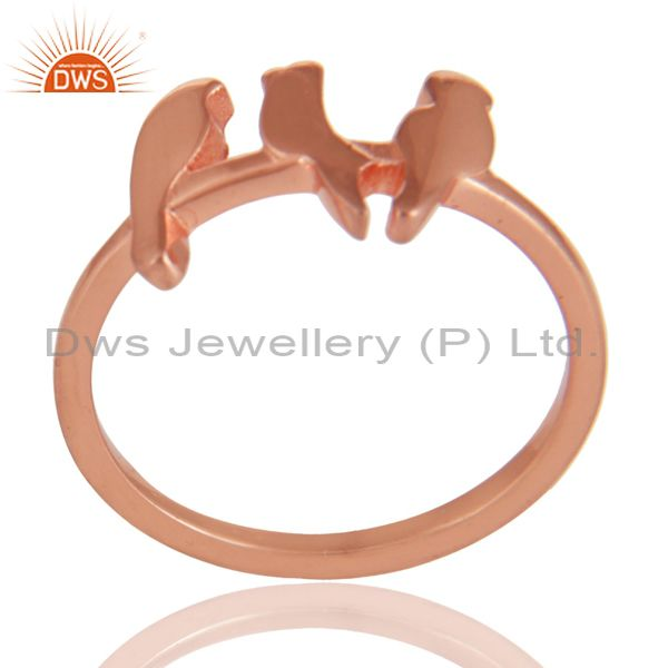 14K Rose Gold Plated 925 Sterling Silver Handmade Birds Design Stackable Ring