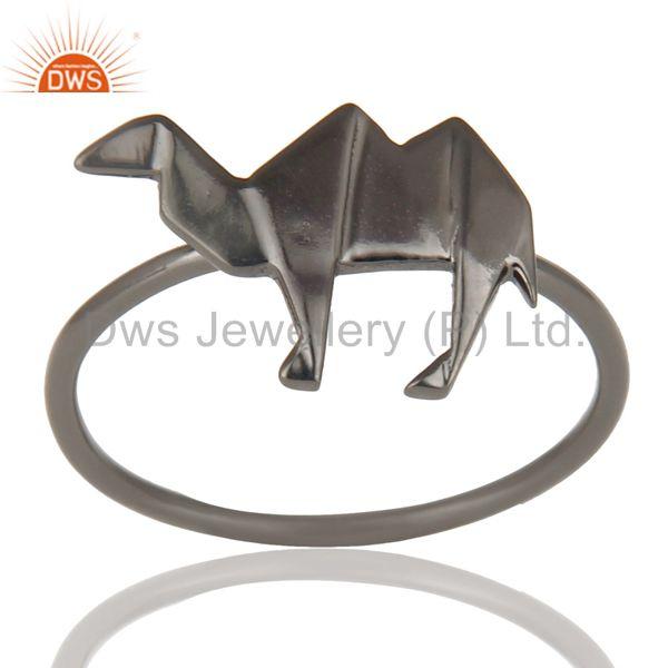 Black Oxidized 925 Sterling Silver Handmade Art Deco Camel Design Stackable Ring