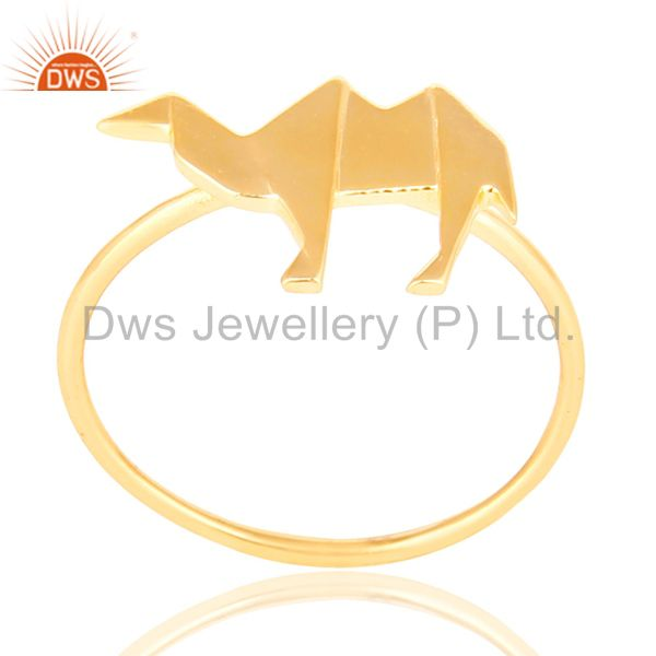 14K Yellow Gold Plated 925 Sterling Silver Handmade Camel Design Stackable Ring
