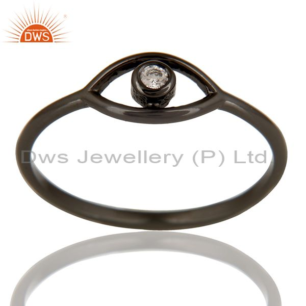Black Oxidized 925 Sterling Silver Handmade White Zirconia Stackable Ring