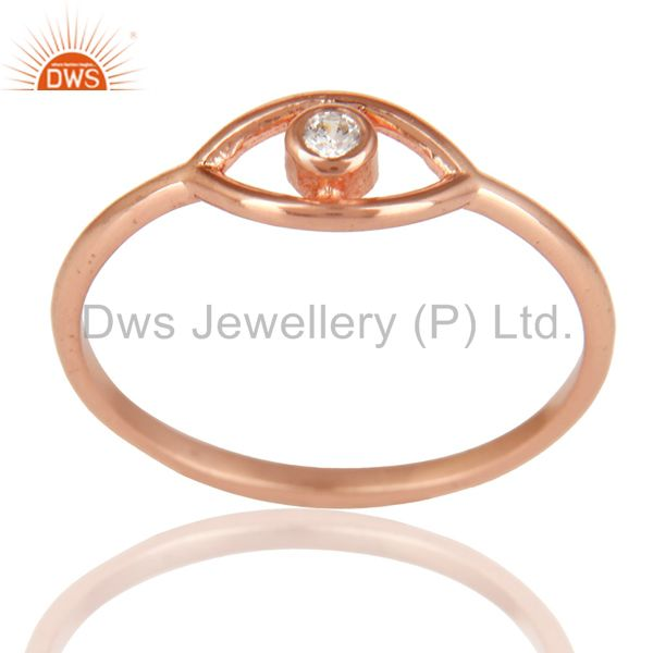 14K Rose Gold Plated 925 Sterling Silver Handmade White Zirconia Stackable Ring