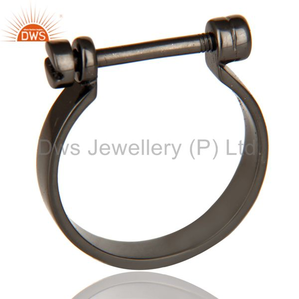 Black Oxidized 925 Sterling Silver Handmade Lock Style Openable Ring Jewelry