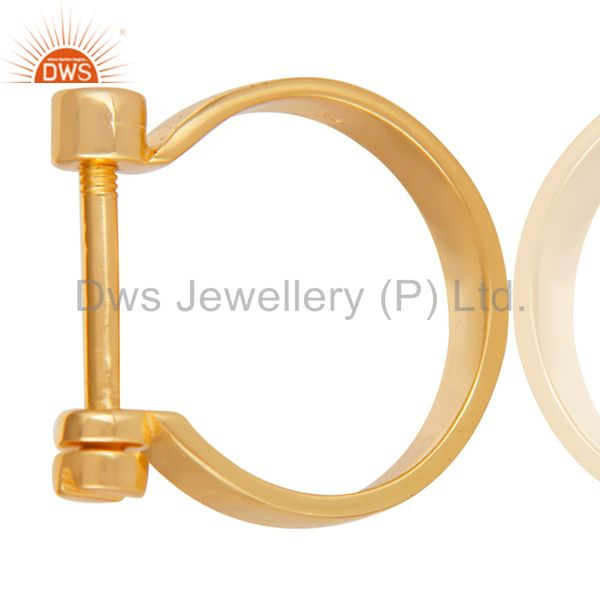 14K Yellow Gold Plated 925 Sterling Silver Handmade Lock Style Openable Ring