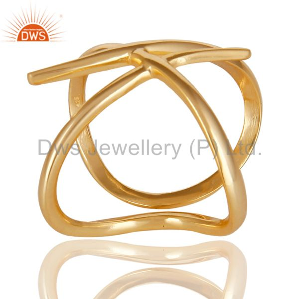 14K Yellow Gold Plated 925 Sterling Silver Handmade Art Deco Stackable Ring