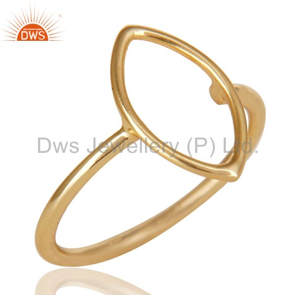 14K Yellow Gold Plated Sterling Silver Handmade Without Stone Stackable Ring