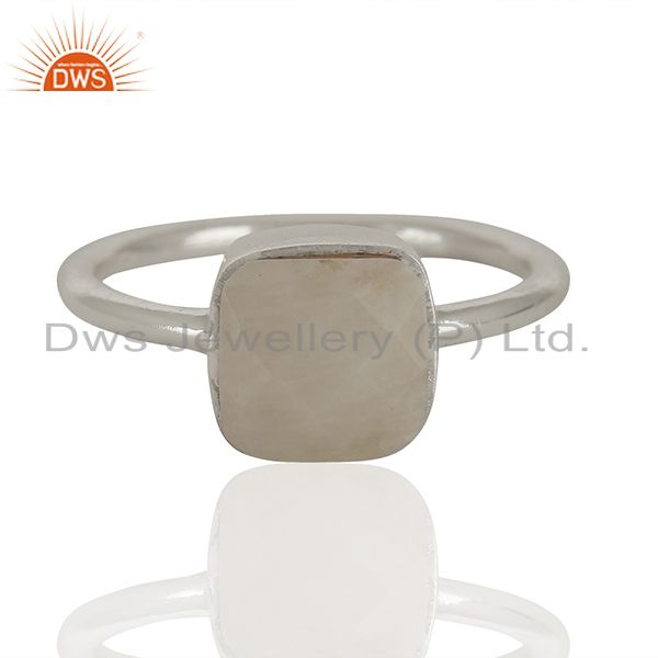 White Agate Gemstone 925 Solid Silver Stackable Rings Manufacturer