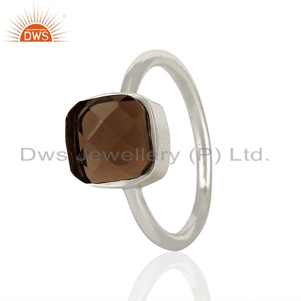 Smoky Quartz Gemstone 925 Sterling Silver Ring Jewelry Manufacturer