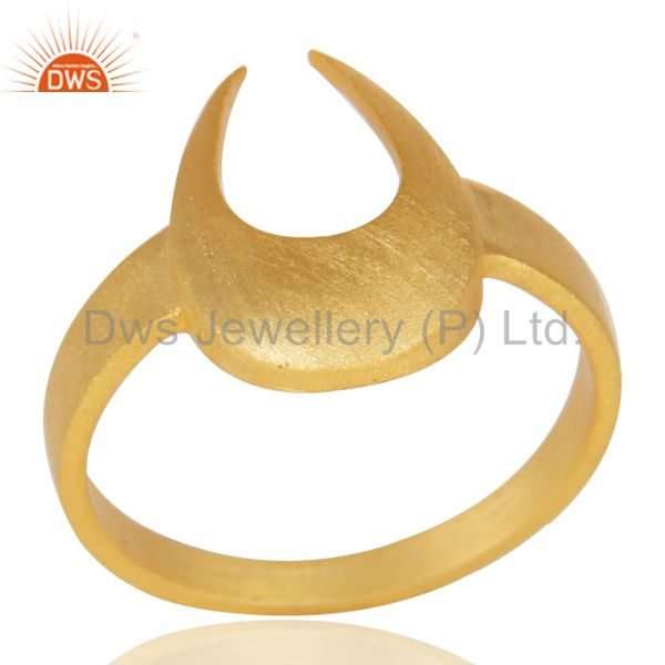 14K Yellow Gold Plated 925 Sterling Silver Handmade Horse Shoe U Design Ring