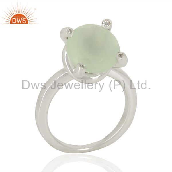 Aqua Chalcedony And CZ Stackable 925 Sterling Silver Ring Gemstone Jewelry