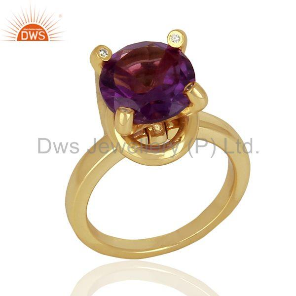 Amethyst And CZ Stackable 925 Sterling Silver Ring Gemstone Jewelry