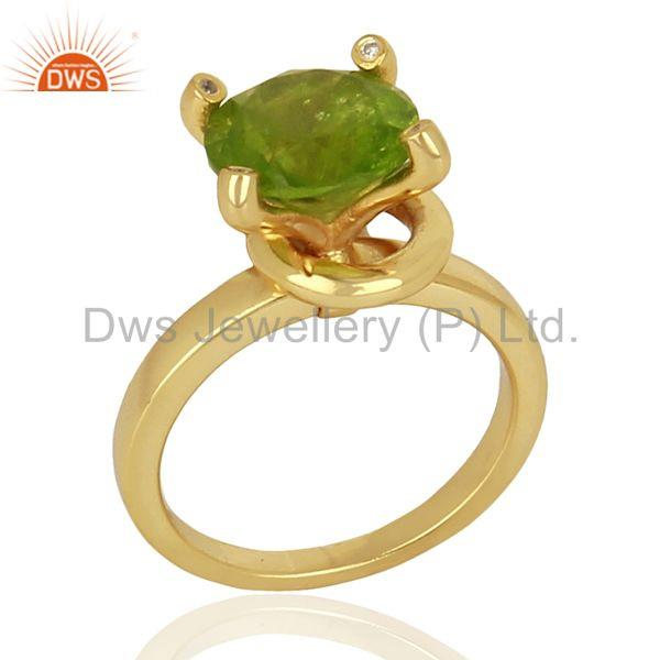 Natural Peridot Stackable 925 Sterling Silver Ring Gemstone Jewelry