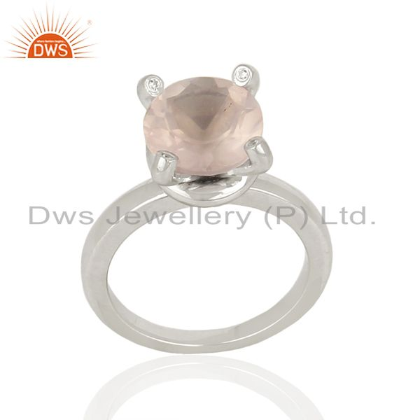 Rose Quartz CZ Stackable 925 Sterling Silver Prong Set Ring Gemstone Jewelry
