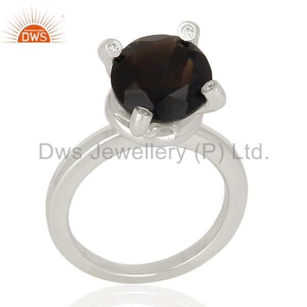 Smoky Quartz And CZ Stackable 925 Sterling Silver Prong Set Ring Jewelry