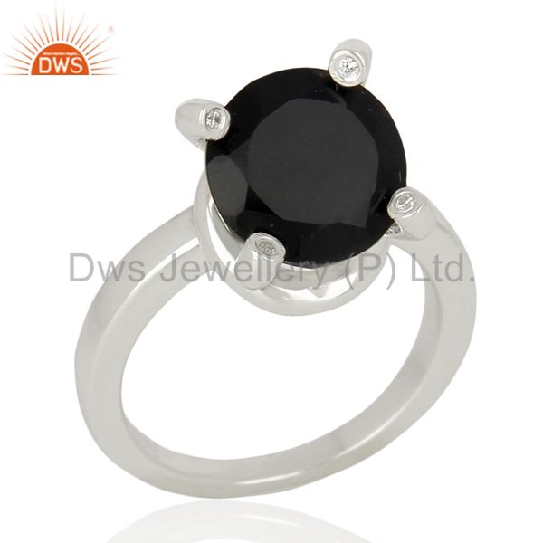 Black Onyx And CZ Stackable 925 Sterling Silver Prong Set Ring Gemstone Jewelry