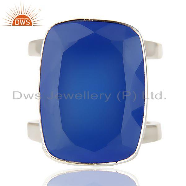 Stunning 925 Sterling Silver Handmade Dyed Blue Chalcedony Cocktail Ring Jewelry