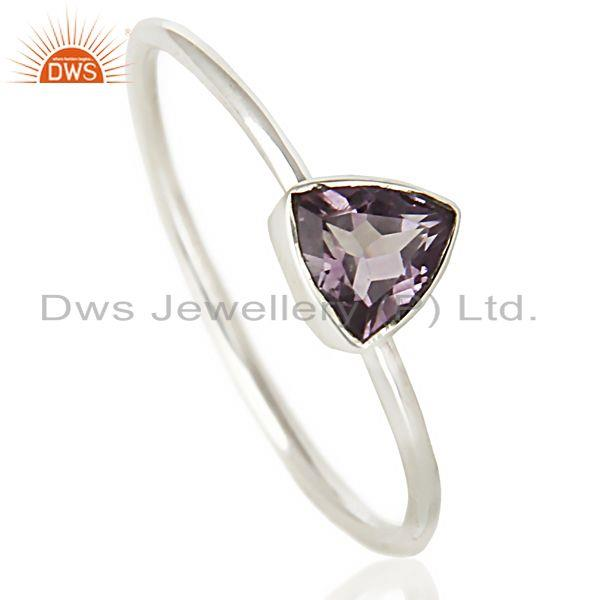 Natural Amethyst Gemstone Stackable 925 Sterling Silver Ring Jewelry