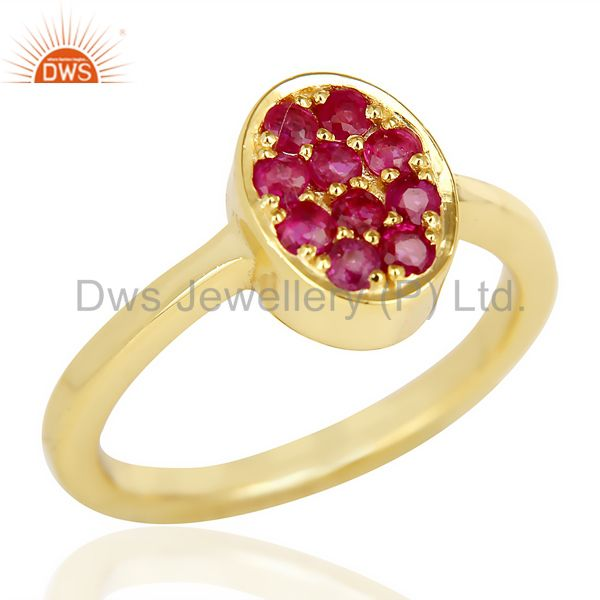 Natual Ruby Oval Shape 14K Gold Plated 92.5 Sterling Silver Solid Ring