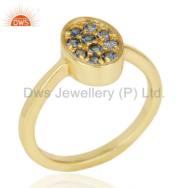 Natual Sapphire Oval Shape 14K Gold Plated 92.5 Sterling Silver Solid Ring