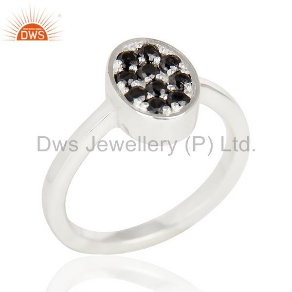 Black Zircon Oval Shape 92.5 Sterling Silver Solid Ring