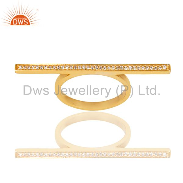 CZ Knuckle 14K Yellow Gold Plated 925 Sterling Silver Ring Personalized Jewelry