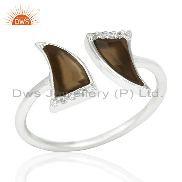 Smoky Topaz Two Horn Cz Studded Openable Adjustable 92.5 Sterling Silver Ring