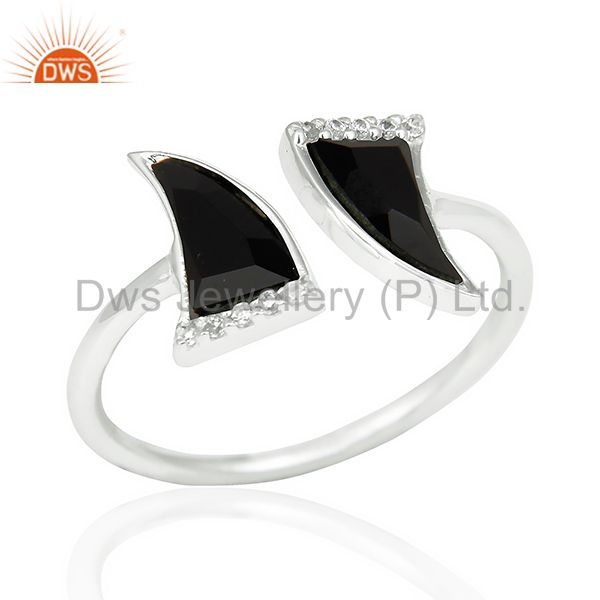 Black Onyx Two Horn Cz Studded Openable Adjustable 92.5 Sterling Silver Ring