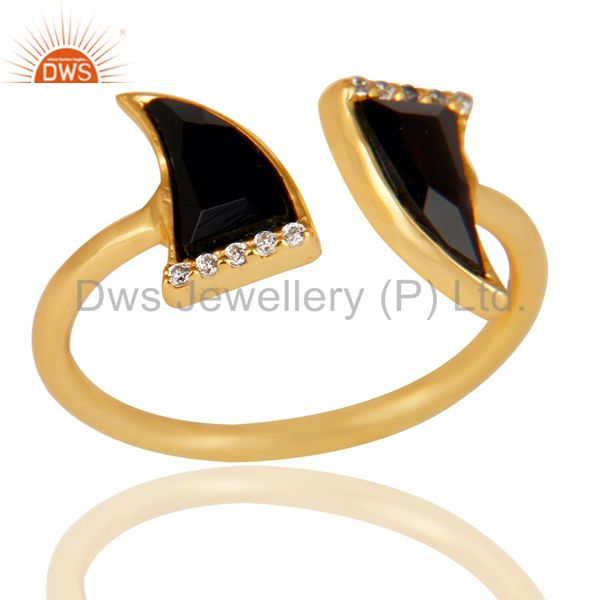 Black Onyx Two Horn Cz Studded Adjustable 14K Gold Plated 92.5 Silver Ring