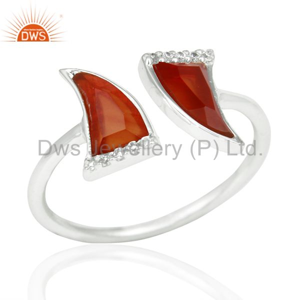 Red Onyx Two Horn Cz Studded Adjustable Openable 92.5 Sterling Silver Ring