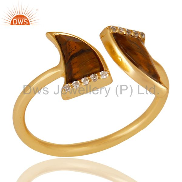 Tigereye Two Horn Cz Studded Adjustable 14K Gold Plated 92.5 Silver Ring