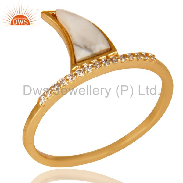 Howlite Horn Cz Studded Adjustable 14K Gold Plated 92.5 Sterling Silver Ring