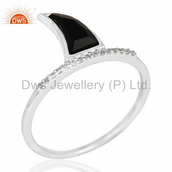 Black Onyx Horn Cz Studded Adjustable 92.5 Sterling Silver Ring