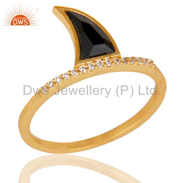 Black Onyx Horn Cz Studded Adjustable 14K Gold Plated 92.5 Sterling Silver Ring