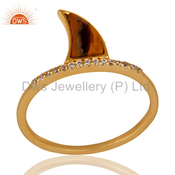 Tigereye Horn Cz Studded Adjustable 14K Gold Plated 92.5 Sterling Silver Ring