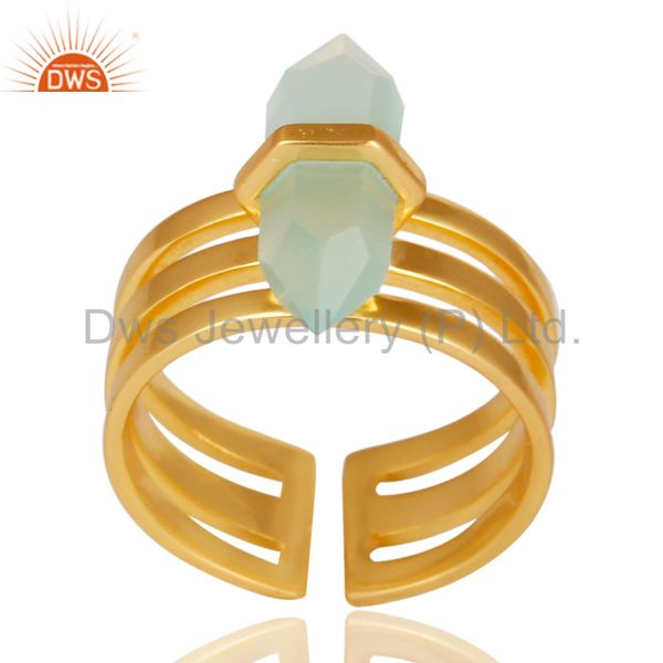 Aqua Chalcedony Wide Horn Adjustable 14K Gold Plated Sterling Silver Ring