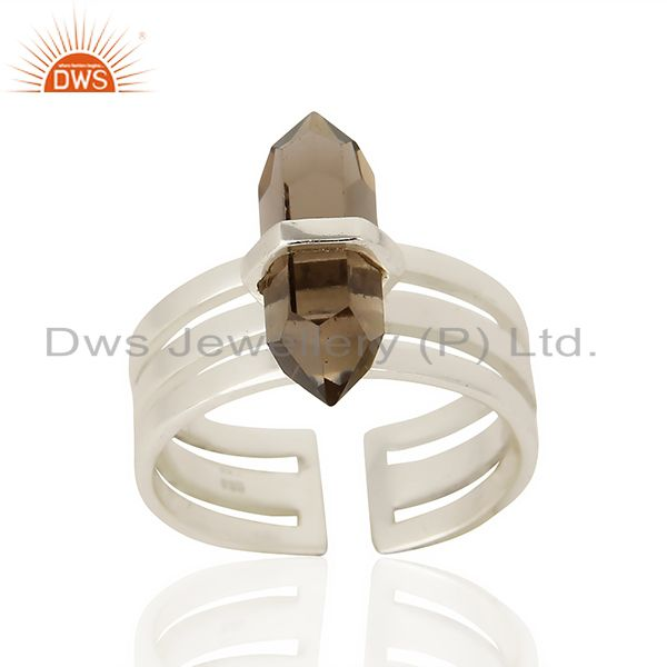 Smoky Wide Horn Adjustable Openable 92.5 Sterling Silver Ring
