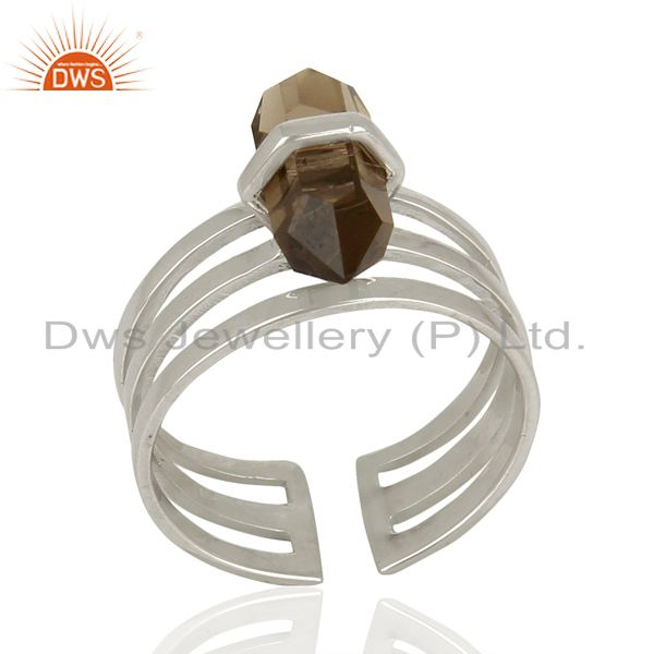 Smoky Wide Horn Adjustable Openable 92.5 Sterling Silver Ring Gemstone Jewellery