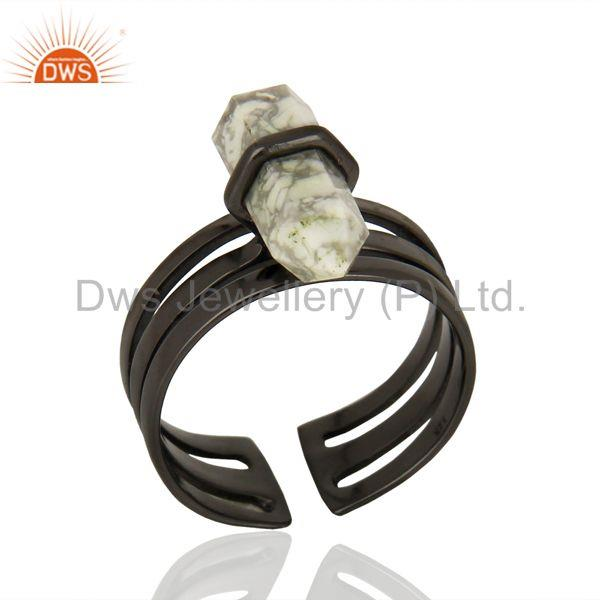 Designer Black Rhodium Plated Silver Howlite Gemstone Ring Supplier