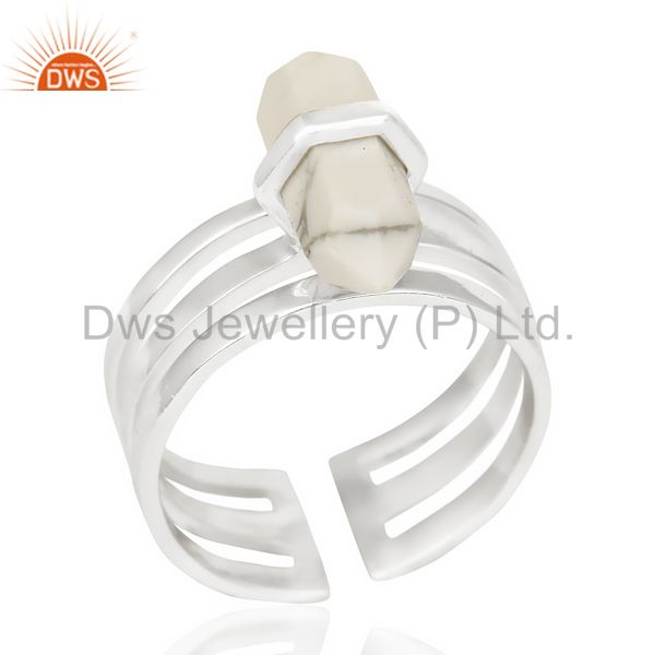 Howlite Wide Horn Adjustable Openable 92.5 Sterling Silver Ring