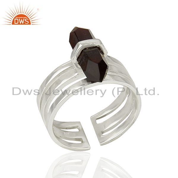 Black Onyx Wide Horn Adjustable Openable 92.5 Sterling Silver Ring